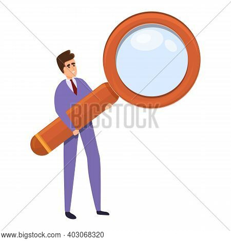 Magnifier Agent Icon. Cartoon Of Magnifier Agent Vector Icon For Web Design Isolated On White Backgr