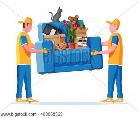 Delivery Character Man Movers Carry Armchair With Household Items. Porters Carry Couch Isolated. Mov