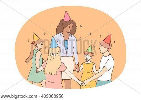 Children, Birthday Party, Friendship Concept. Group Of Smiling Cheerful Children Friends In Festive