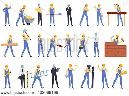 Builder Icons Set. Cartoon Set Of Builder Vector Icons For Web Design