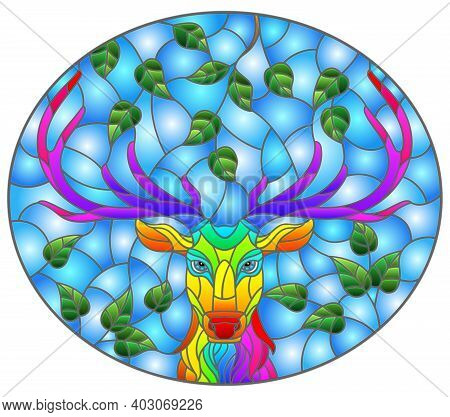 Illustration In Stained Glass Style With The Head Of A Rainbow Deer On A Background Of Tree Branches