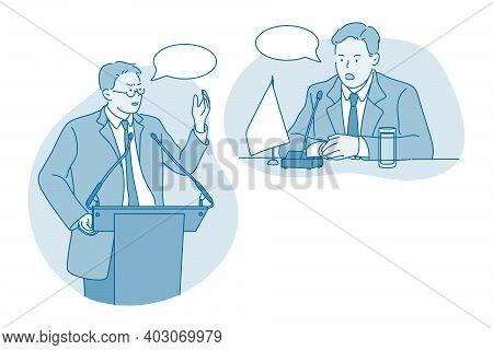 Politician, Public Speaker, Orator Concept. Serious Young Man Congressman Political Candidate Cartoo