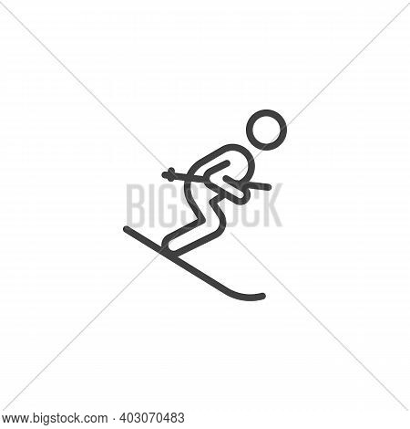 Skier Skiing Downhill Line Icon. Linear Style Sign For Mobile Concept And Web Design. Skiing Winter
