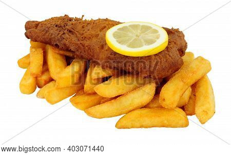 Beer Battered Fish And Chips Meal Isolated On A White Background