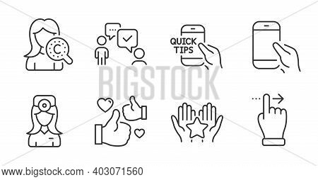 Consulting Business, Oculist Doctor And Touchscreen Gesture Line Icons Set. Education, Collagen Skin