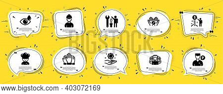 People Icons Set. Speech Bubble Offer Banners. Yellow Coupon Badge. Included Icon As Eye Drops, Repa