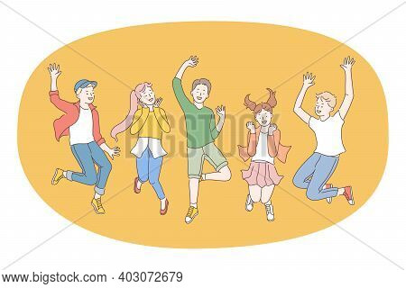 Children, Friendship, Happiness Concept. Group Of Smiling Cheerful Children Friends Jumping Together