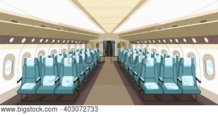 Front View Of Airplane Interior Design With Aisle, Reclining Seats And Portholes. Empty Aircraft Cab