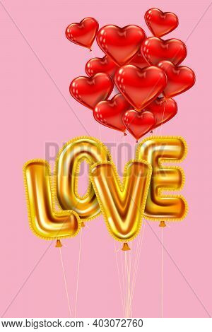 Love Gold Helium Metallic Glossy Balloons Realistic Text. Bunch Of Heart Shape Flying Red Balloons,
