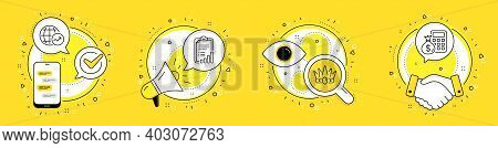 Crown, World Statistics And Checklist Line Icons Set. Cell Phone, Megaphone And Deal Vector Icons. F