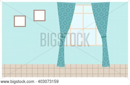 Illustration Of Living Room Window With Blue Curtains And Pictures On The Wall. Inside View Of Inter