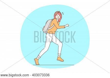 Hurrying Up And Running Concept. Young Smiling Girl Cartoon Character With Backpack Running To Meeti