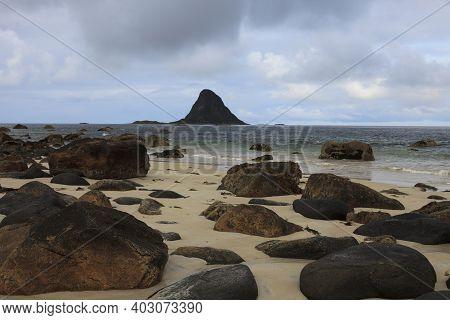 Vesteralen Islands / Norway - August 31, 2017: The Hat Of Troll Rock, Vesteralen, Vesterålen, Nordla