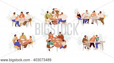 Set Of Families, Friends And Colleagues Sitting At Dining Table And Eating Food Together. People Mee