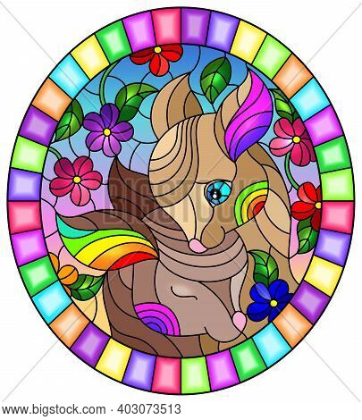 Illustration In Stained Glass Style With Two Fawns On A Background Of Bright Flowers And The Sky, Ov