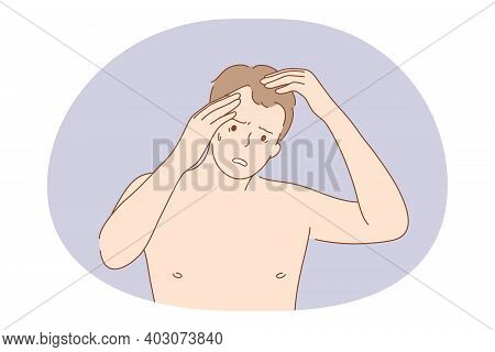 Suffering From Pain In Muscles, Joints, Losing Hair Concept. Young Unhappy Frustrated Man Cartoon Ch