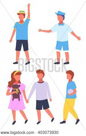 Set Of Children Portraits Isolated At White. Funny Boys In Hat, Cap, Wearing Shorts. Cute Couple Of