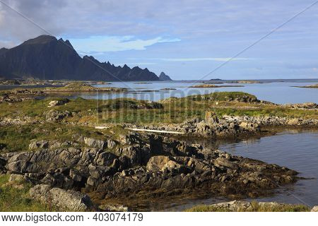 Vesteralen Islands / Norway - August 31, 2017: Coast Landscape Near Andenes, Vesteralen, Vesterålen,