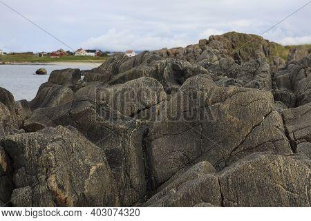 Vesteralen Islands / Norway - August 31, 2017: A Particulary Beach Rocks, Vesteralen, Vesterålen, No