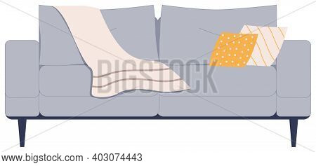 Comfortable Gray Sofa With Pillows And Plaid On White Background. Couch Lounge In Interior, Furnitur