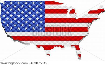 Mosaic Map Of The Usa - Illustration,  Three Dimensional Map Of Usa
