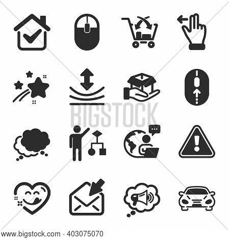 Set Of Technology Icons, Such As Megaphone, Swipe Up, Cross Sell Symbols. Algorithm, Hold Box, Yummy
