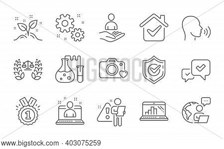 Photo Camera, Startup Concept And Chemistry Lab Line Icons Set. Human Sing, Justice Scales And Best