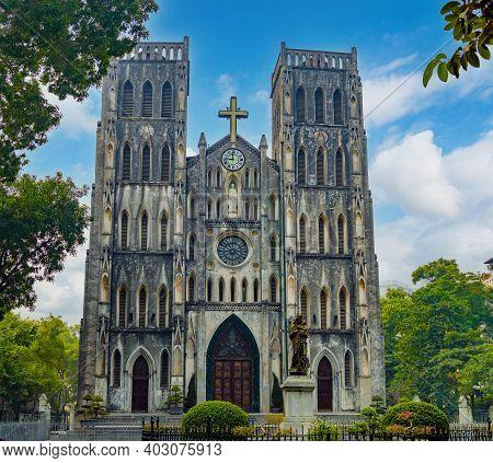 St Joseph's Cathedral In Hanoi, Vietnam. Notre Dame De Hanoi.