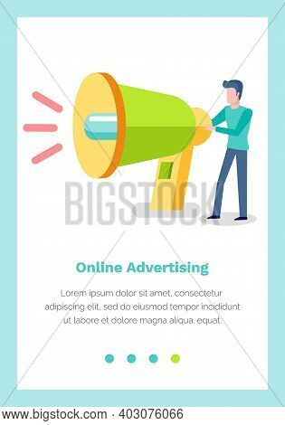 Website Landing Page Template With Male Character Holding Loudspeaker. Online Advertising Concept. D