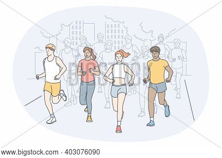 Athletics, Running, Marathon Competition Concept. Young People Sportsmen Athletes Taking Part In Run