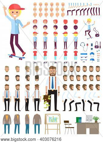 Create Character. Set Of Different Illustrations With Body Parts. Businessman And Teenager. Icons Wi
