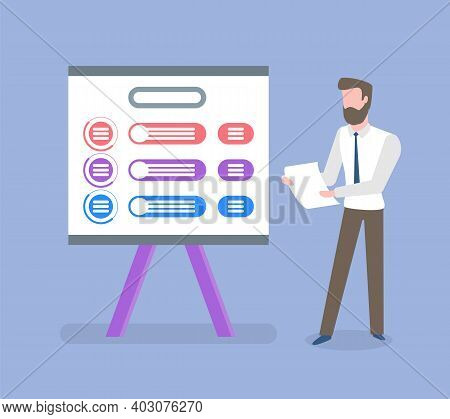 Whiteboard With Information Vector, Male Wearing Suit With Tie Holding Documents And Business Analys