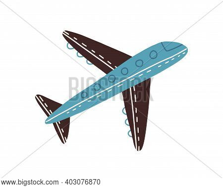 Side View Of Cute Flying Plane Isolated On White Background. Hand Drawn Blue Airplane. Toy Of Air Tr