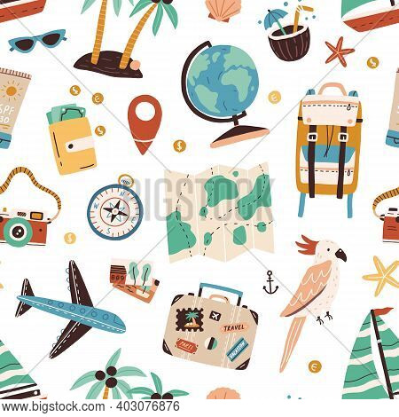 Seamless Pattern With Touristic Items Like Passport, Backpack, Globe, Cocktail, Airplane, Palm Trees