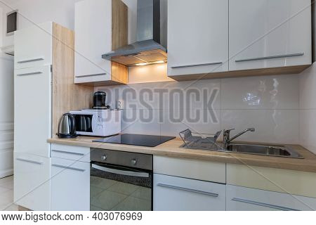 Modern Kitchen Room Interior With Appliances, Side View