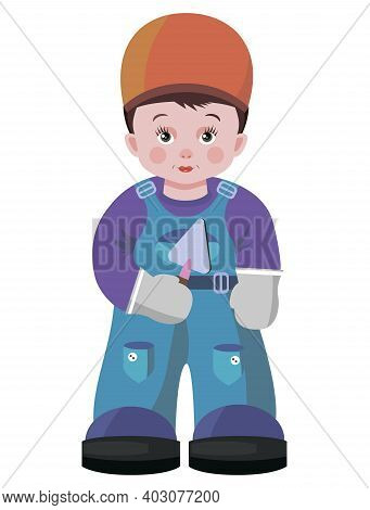 Young Boy In The Form Of A Builder With A Tool. Vector Image On A White Background.