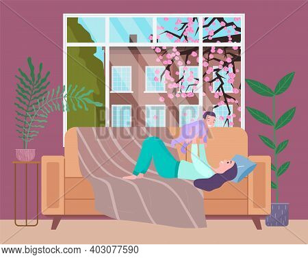 Mother Plays With Her Small Baby At Home. A Female Character With Her Little Son In An Apartment Nea