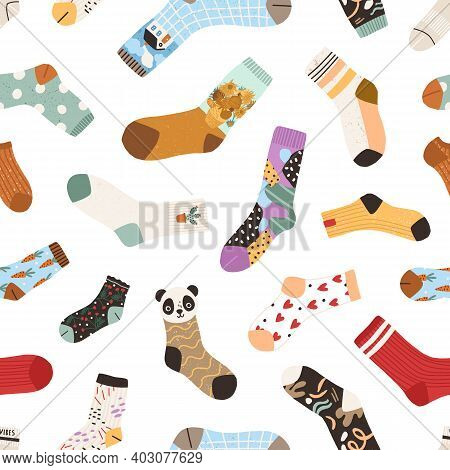 Seamless Texture With Cute Cotton And Woolen Colorful Socks With Different Drawings, Patterns, Color