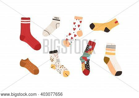 Set Of Stylish Cotton And Woolen Socks With Different Drawings, Patterns, Colors And Design. Collect