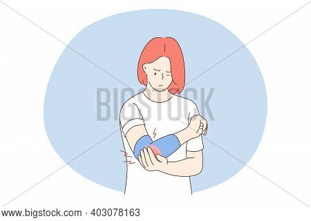 Suffering From Pain In Muscles, Joints, Injuries Concept. Young Unhappy Woman Cartoon Character Stan