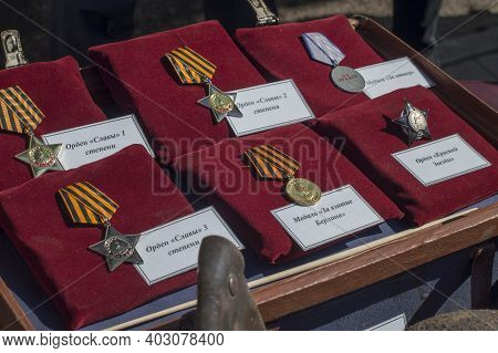 Medals Of The Great Patriotic War Displayed At The Holiday On May 9  2019 In Borisov