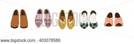 Women S Shoe Wardrobe. Set Of Female Fashion Footwear. Brogues, Pointed Loafers, High Heel Sandals W
