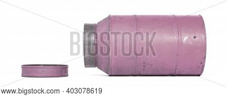 Old Nostalgic Can Isolated On White - Purple Can