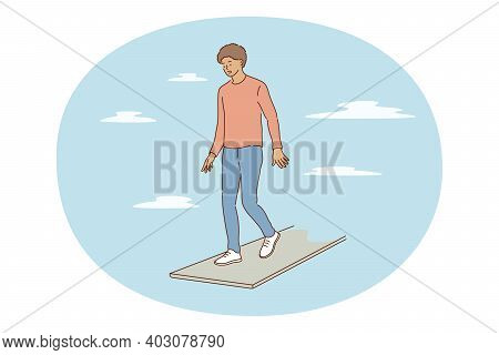 Challenge, Risk, Fear Concept. Young Frustrated Boy Cartoon Character Standing At Edge Of Footpath N