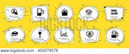 Business Icons Set. Speech Bubble Offer Banners. Yellow Coupon Badge. Included Icon As Packing Boxes