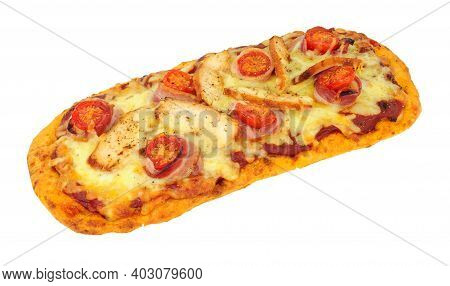 Chicken And Bacon And Tomato Flat Bread Pizza With Cheese Isolated On A White Background