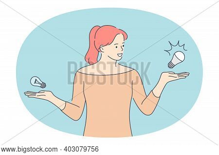 Choice, Doubt, Decision Concept. Young Smiling Woman Cartoon Character Standing With Light Bulbs Ob