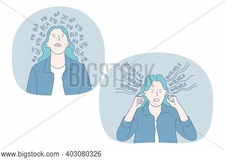 Anger, Loud Sounds, Noise Concept. Angry Irritated Stressed Girl With Blue Hair Cartoon Character Li