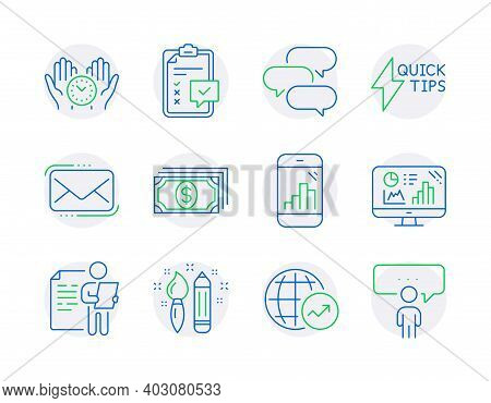 Education Icons Set. Included Icon As Quickstart Guide, Payment, Job Interview Signs. Messenger Mail