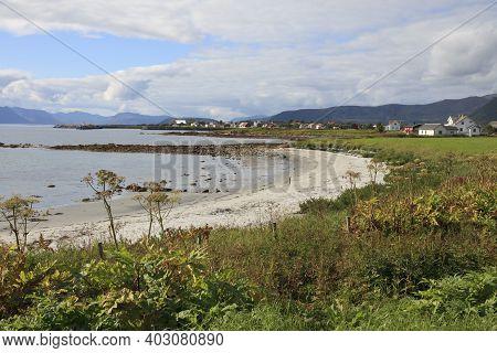 Vesteralen Islands / Norway - August 31, 2017: Dverberg Beach, Vesteralen Islands, Nordland, Norway,